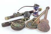Sale 8417 - Lot 89 - Enamelled Opium Pipe with Other Oriental Timber Wares