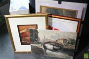 Sale 8468 - Lot 2100 - 4 Artworks incl Framed Silk Depicting 2 Carp