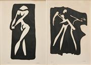 Sale 8573 - Lot 2004 - Michael Noble (1919 - 1993) (2 works) - Dancers 53 x 37.5cm, each