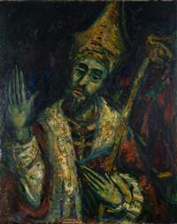 Sale 8735 - Lot 24 - Salvatore Zofrea, Pope Gregory, oil on canvas, signed lower centre, circa 1966, 126cm x 101cm