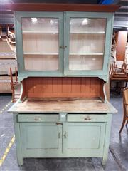 Sale 8740 - Lot 1182 - Kitchen Dresser with Glass Front Hutch