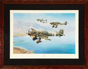 Sale 8868H - Lot 69 - Robert Taylor, Stuka. A framed, limited edition print of bearing signatures of German WWII fighter pilots. The print depicts a forma...
