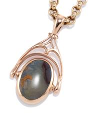 Sale 8946 - Lot 330 - A 9CT GOLD SPINNING FOB NECKLACE; 30mm spinning fob set with an oval agate in rose gold on a 46cm belcher chain, wt. 9.39g.