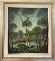 Sale 9044J - Lot 3 - Pro Hart - Swamp Birds 78x56cm