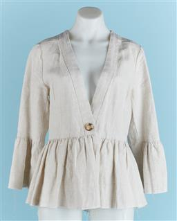 Sale 9091F - Lot 247 - A ELKA COLLECTIVE OF MELBOURNE LINEN TOP, with frayed hemming size 8