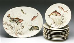 Sale 9168 - Lot 1 - A set of ten Johnson brothers fish plates (Dia 25cm) together with A large platter (L 41cm)