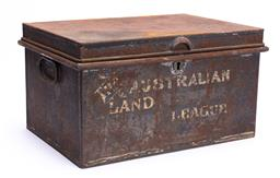 Sale 9185E - Lot 44 - A rusted twin handled document box marked The Australian Land League, Height 20.5cm x Width 38cm x Depth 27.5cm