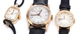 Sale 9194 - Lot 544 - THREE LADYS VINTAGE WRISTWATCHES; a 14ct gold filled Omega on a 17 jewell cal. 244 movement case width 26mm, cord band, C - 1952, a...