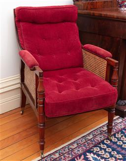 Sale 9190H - Lot 232 - A pair of Regency design rosewood armchairs upholstered in buttoned red velvet over caned frames raised on ring turned legs terminat...