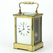 Sale 8214 - Lot 80 - French Brass Carriage Clock with Repeater