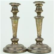 Sale 8387 - Lot 39 - English Hallmarked Sterling Silver George IV Pair of Candlesticks