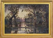 Sale 8394 - Lot 594 - Artist Unknown (XIX) - Australian Landscape with Aboriginals Camping 60 x 90.5cm