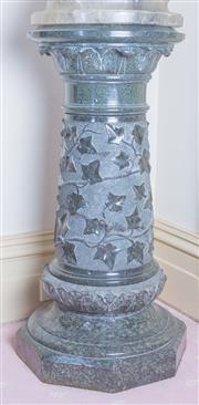 Sale 8430 - Lot 78 - An impressive Victorian Verde antico marble pedestal, the tapering shaft with clambering ivy