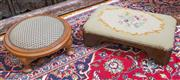 Sale 8435A - Lot 18 - Two upholstered timber footstools one with a tapestry top the circular with brocade, larger L 47cm