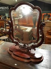 Sale 8848 - Lot 1060 - Victorian Mahogany Toilet Mirror, on shaped supports and lobed base