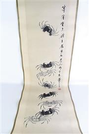 Sale 8909S - Lot 633 - Chinese scroll of crabs (130cm x 32cm)