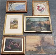 Sale 9011 - Lot 2074 - A Group (5) of Early Paintings and Watercolours -
