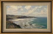 Sale 9044J - Lot 82 - Ken Knight - Narooma Seascape 39x70cm