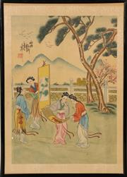 Sale 9078 - Lot 84 - A Chinese work on silk depicting maidens with scrolls in garden setting, calligraphy and red seal, framed and glazed (35.5cm x 25.5cm)