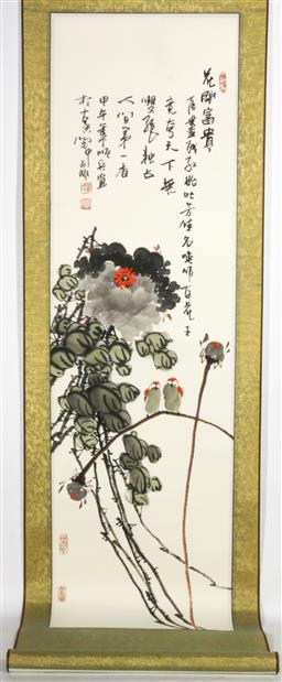 Sale 9098 - Lot 241 - Flower and Bird themed Chinese scroll (L144cm W33cm)