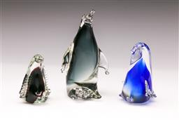 Sale 9098 - Lot 62 - A Group of Venetian Style Sommerso Penguin Paperweights, H12.5cm