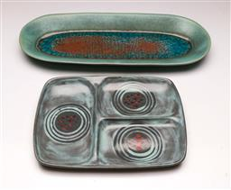 Sale 9110 - Lot 69 - A Dane Gore potted dish (L:47cm) together with a signed USA example (L:31cm)
