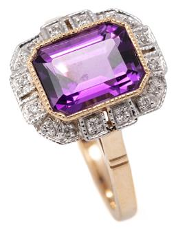 Sale 9149 - Lot 344 - A DECO STYLE AMETHYST AND DIAMOND RING; set in 9ct gold with an emerald cut amethyst of approx. 2.10ct to surround of round brillian...