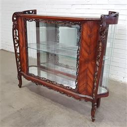 Sale 9162 - Lot 1038 - French Style Display Cabinet, with pierced supports & frames, two glass sliding doors & bowed sides (damage to one bowed section,  h...