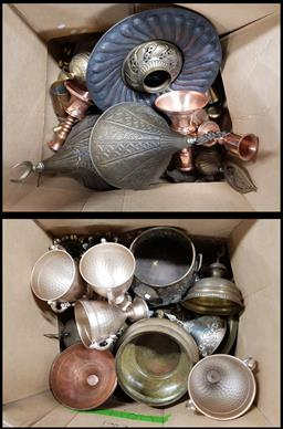 Sale 9176 - Lot 2335 - 2 Boxes of Brass, Copper & Other Metal Wares