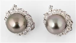 Sale 9250F - Lot 51 - A pair of Tahitian pearl & 18ct white gold earrings, each set with 14 round brilliant cut diamonds, pearls size 11.10mm, with post k...