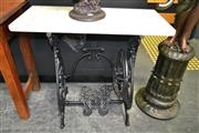 Sale 8161 - Lot 1003 - Sewing Base Marble Top Hall Table