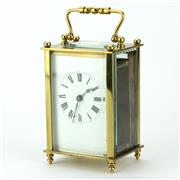 Sale 8214 - Lot 81 - French Brass Carriage Clock with Travel Case