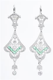 Sale 8322J - Lot 374 - A PAIR OF DECO STYLE DIAMOND AND GEMSET DROP EARRING; cannetille style articulating frames in 18ct white gold set with 108 round bri...