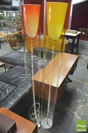 Sale 8310 - Lot 1038 - Pair Tall Coloured Cylinder Floor Lamps