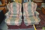 Sale 8326 - Lot 1365 - Pair of Antique Wingback Armchair w Carved Cabriole Legs