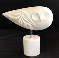 Sale 8725A - Lot 1 - A stylised  white bisque porcelain owl on marble base, Jonathon Adler Menagerie Collection. 25 x 36cm