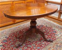 Sale 8735 - Lot 26 - A Victorian walnut tilt top loo table, the oval top with marquetry inlay on outswept tripod base, H x 77cm, L x 118cm, W x 84cm