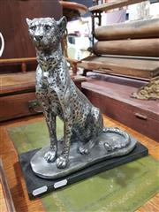 Sale 8740 - Lot 1360 - Silver Coloured Leopard Figure Mounted to Base