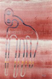 Sale 8786 - Lot 569 - Fiona Omeenyo (1981 - ) - Miku be Himself at his Camp 132 x 86cm