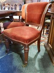 Sale 8795 - Lot 1046 - Set of Four Victorian Mahogany Chairs, the solid scrolled frames upholstered in burnt orange velvet, raised on turned legs