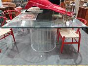 Sale 8889 - Lot 1098 - Large Glass Top Dining Table on Twin Perspex Curved Base