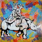 Sale 8979A - Lot 5022 - Gillie & Marc - They have the heart of lions and the strength of rhinos 120 x 120 cm (total: 120 x 120 x 4 cm)