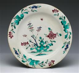 Sale 9093P - Lot 90 - C18th Bow Porcelain Chinoiserie Plate with Peonies, diam. 24cm.