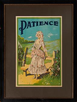 Sale 9123 - Lot 2018 - Stafford & Co Theatre Poster Patience or Bunthorpes Bride colour lithograph 71 x 45.5 cm (frame: 106 x 80 x 2 cm) published by Staf...