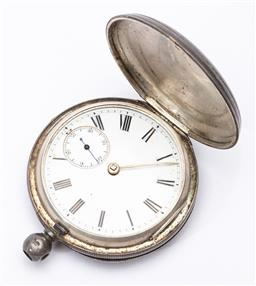 Sale 9180E - Lot 150 - A Victorian hallmarked sterling silver cased pocket watch, London, c.1877 by Henry Buckland, some losses