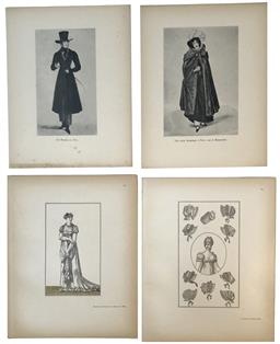 Sale 9142A - Lot 5115 - Suite of (4) Early 20th century monochrome Fashion Engravings, 28 x 22cm, each