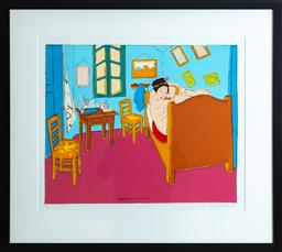 Sale 9165H - Lot 36 - Gary Shead - Bedroom at Arles 52cm x 63cm