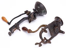Sale 9185E - Lot 168 - Two vintage coffee grinders with clamps, longer length 30.5cm