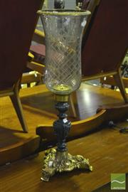 Sale 8305 - Lot 1090 - Cut Glass & Brass Storm Candle Holder