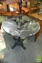Sale 8392 - Lot 1066 - Black Granite Top Cafe Table on Cast Iron Base (80cm)